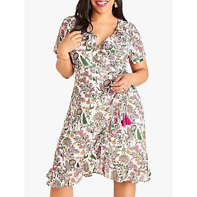 Yumi Curves Wrap Garden Print Dress, Ivory