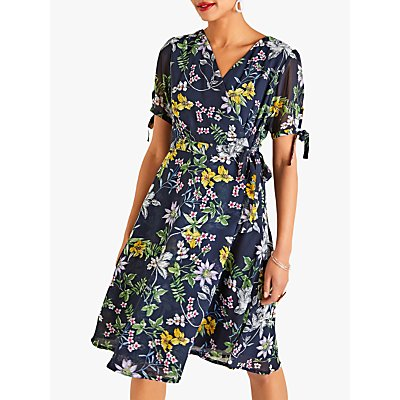 Yumi Crossover Floral Dress, Navy