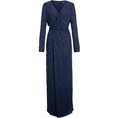 Lauren Ralph Lauren Annaliese Long Sleeve Evening Dress, Navy/Silver