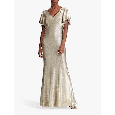 Lauren Ralph Lauren Rezi Cap Sleeve Evening Dress, Beige Gold