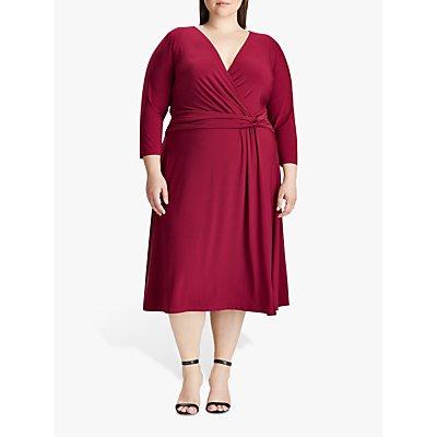 Lauren Ralph Lauren Curve Zanaharyn Jersey Dress, Dark Raspberry