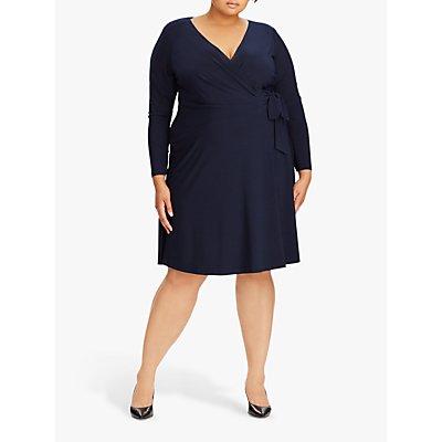 Lauren Ralph Lauren Curve Coreen Wrap Jersey Dress, Lighthouse Navy