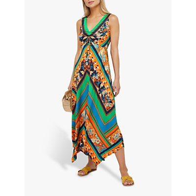 Monsoon Gemima Print Jersey Dress, Orange