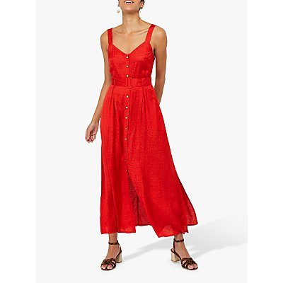 Monsoon Jackie Animal Jacquard Belted Maxi Dress, Red