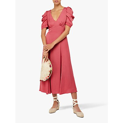 Monsoon Amelia Satin Dress, Pink