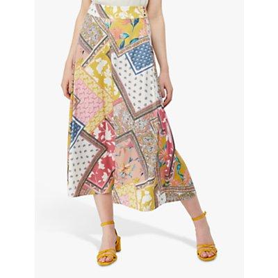 Monsoon Scandi Print Midi Skirt, Multi