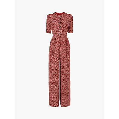 L.K.Bennett Marais Silk Jumpsuit, Red