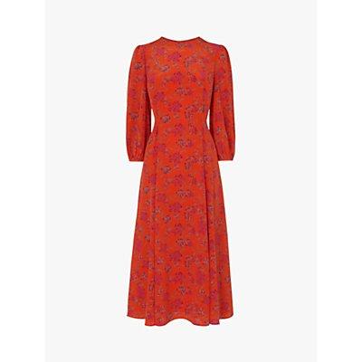 L.K.Bennett Kaia Floral Silk Dress, Pri Orange