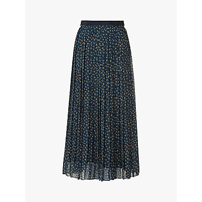 L.K.Bennett Avery Spot Print Pleated Midi Skirt, Midnight