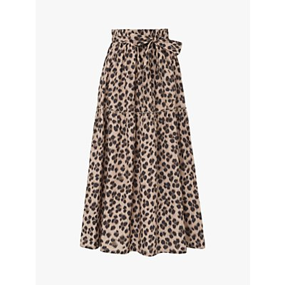 L.K.Bennett Rego Animal Print Tiered Skirt, Leopard