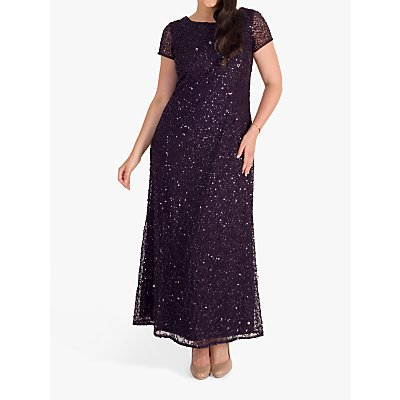 chesca Allover Sequin Short Sleeve Dress