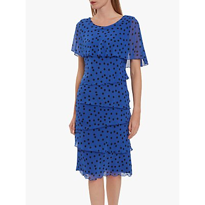 Gina Bacconi Evanna Ruffle Spot Dress, Royal/Black
