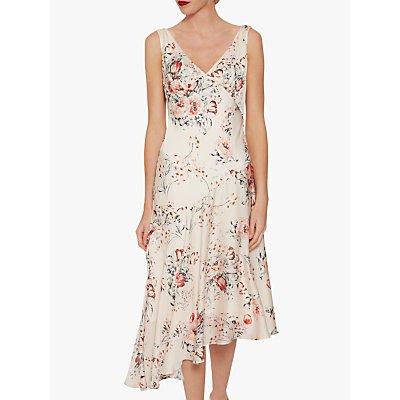 Gina Bacconi Dolores Floral Satin Dress, Peach