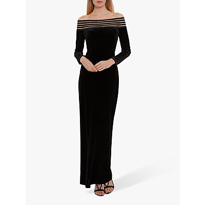 Gina Bacconi Bertina Off The Shoulder Velvet Maxi Dress, Black