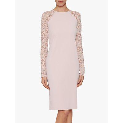 Gina Bacconi Tristine Lace Sleeve Dress, Pink