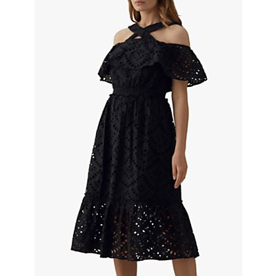 Karen Millen Frill Lace Cotton Midi Dress, Black