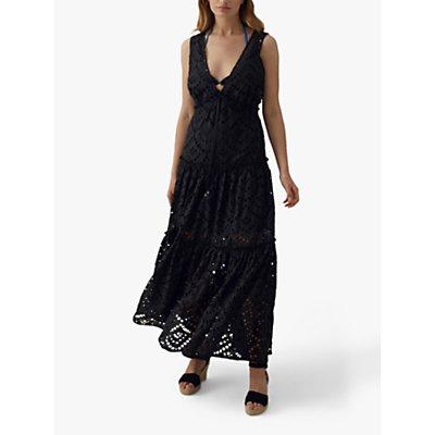 Karen Millen Tiered Lace Cotton Maxi Dress, Black
