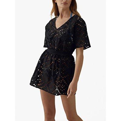 Karen Millen Lace Cover-Up Cotton Dress, Black