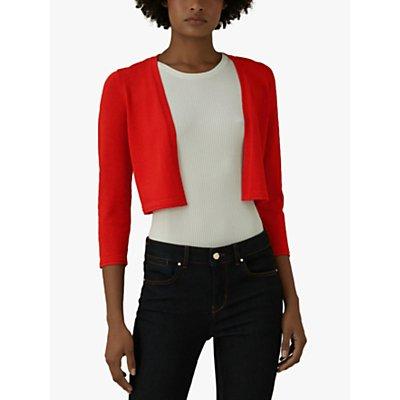 Karen Millen Cropped Open Front Cardigan, Red