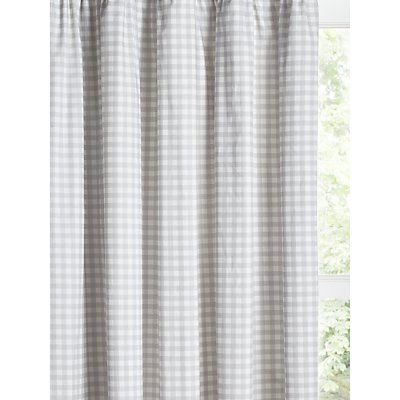 little home at John Lewis Gingham Print Pencil Pleat Children s Curtains  Grey - 5059139078393