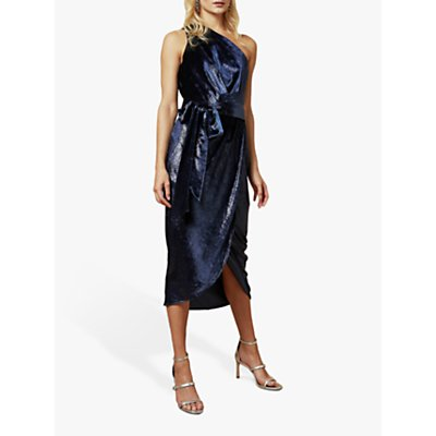 Ted Baker Abinaa Metallic One Shoulder Velvet Midi Dress