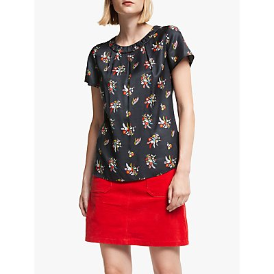Boden Carey Silk Blend Floral Top, Raven/Country Posey