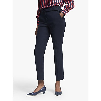 Boden Malden Tweed Belted Trousers, Navy