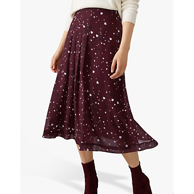 Pure Collection Soft Pleat Skirt, Burgundy