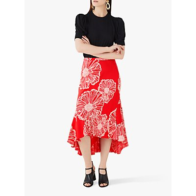 Finery Mardale Poppy Dipped Hem Skirt, Multi