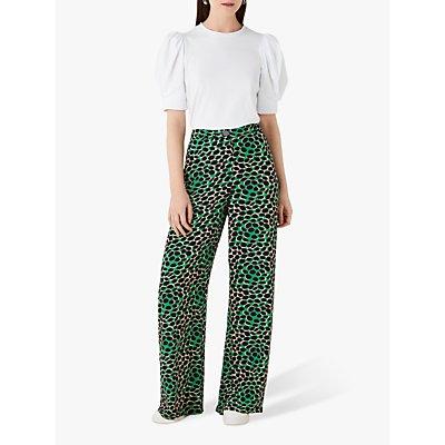 Finery Ashbridge Wide Leg Trousers, Green/Multi