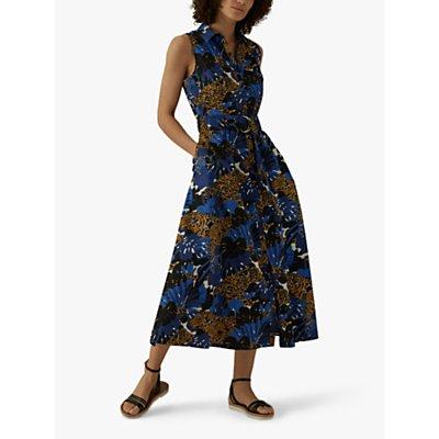 Karen Millen Leopard Print Shirt Dress, Blue/Multi
