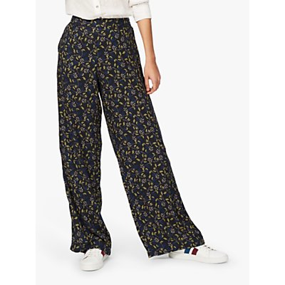 Brora Leaf Print Wide Leg Trousers, Black & Citrine