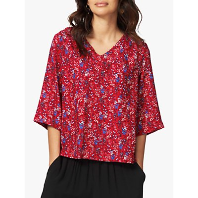 Brora Floral Print Blouse, Chilli/China Blue