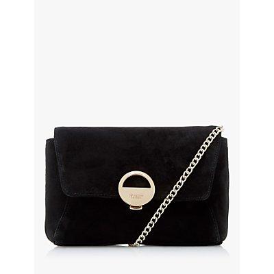 Dune Bethy Logo Suede Clutch Bag, Black