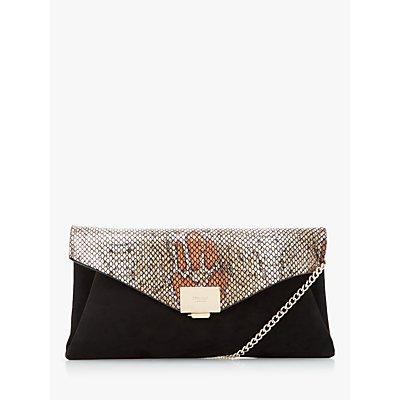 Dune Benvela Evening Clutch Bag, Black Reptile Print