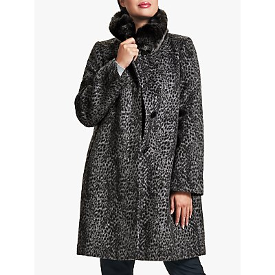 Four Seasons Petite Faux Fur Animal Print Coat, Grey