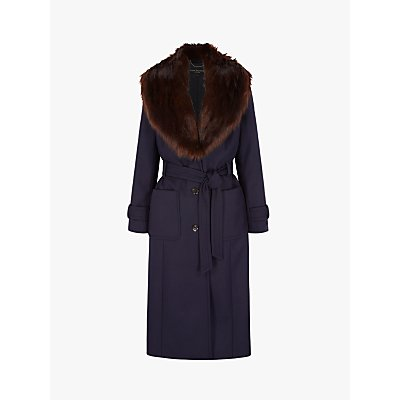 Four Seasons Faux Fur Collar Coat, Purple