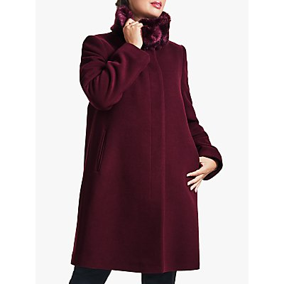 Four Seasons Fly Front Faux Fur Collar Coat, Red