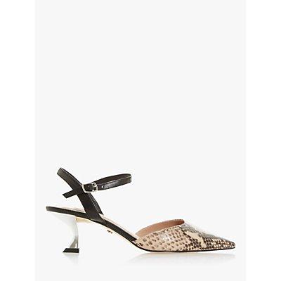 Dune Doriaa Leather Pointed Toe Slingback Shoes, Nude Reptile Print
