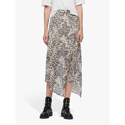 AllSaints Rhea Patch Leopard Print Skirt, Ivory White