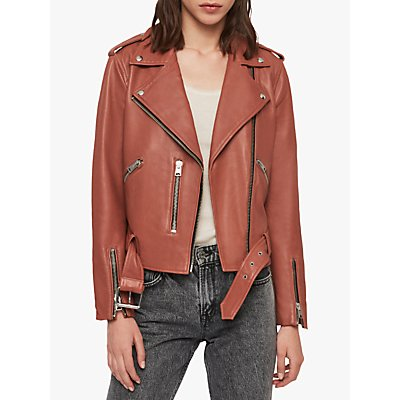 AllSaints Leather Balfern Biker Jacket, Rose Wood Pink