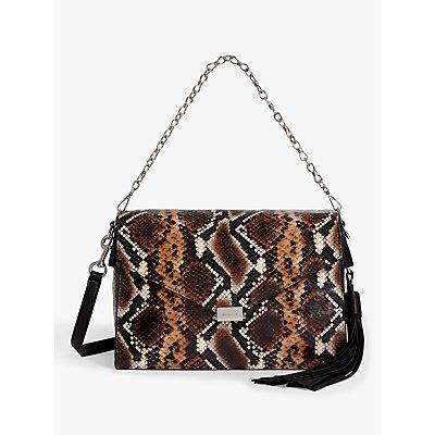 AllSaints Miki Large Sliver Crossbody Bag, Brown