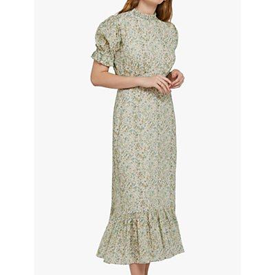 Ghost Solene Ruffle Trim Floral Midi Cotton Dress, Multi