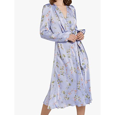 Ghost Meryl Floral Wrap Tie V-Neck Dress, Swingtime Ditsy Blue