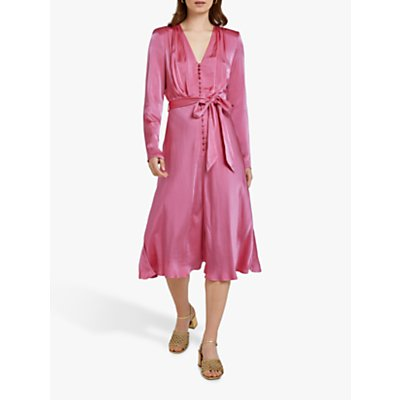 Ghost Meryl Wrap Tie V-Neck Dress, Carmine Rose