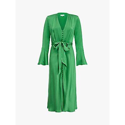 Ghost Annabelle Satin Dress, Green Essence