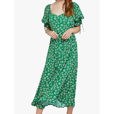 Ghost Melina Midi Floral Dress, Green/Multi