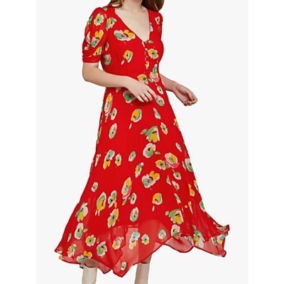 Ghost Marielle Floral Asymmetric Midi Dress, Bright Orange/Multi