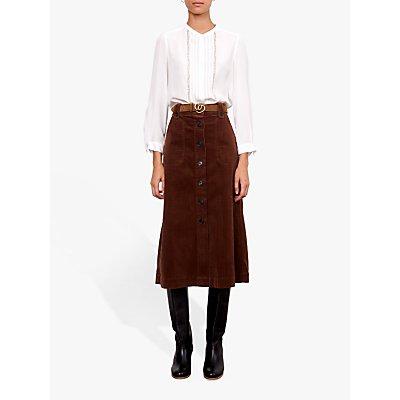 Gerard Darel Thaiss Corderoy Midi Skirt, Brown