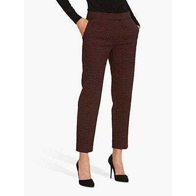 Helen McAlinden Jill Jacquard Tailored Trousers, Burgundy